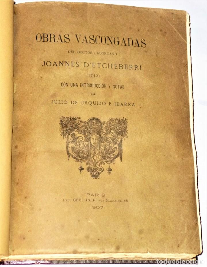 Libros antiguos: OBRAS VASCONGADAS DEL DOCTOR LABORTANO JOANNES D´ ETCHEVERRI (1712) - Foto 2 - 205206331
