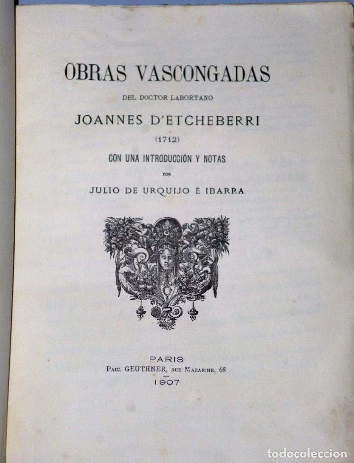 Libros antiguos: OBRAS VASCONGADAS DEL DOCTOR LABORTANO JOANNES D´ ETCHEVERRI (1712) - Foto 3 - 205206331