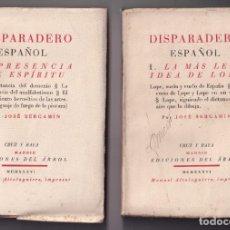 Libros antiguos: JOSÉ BERGAMÍN: DISPARADERO ESPAÑOL. TOMOS I Y II. MADRID, CRUZ Y RAYA, 1936. Lote 205885350