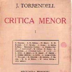 Libros antiguos: TORRENDELL, J. - CRÍTICA MENOR I Y II. Lote 206474373