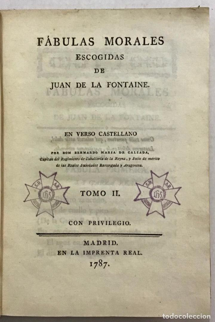 Libros antiguos: FÁULAS MORALES DE... EN VERSO CASTELLANO POR BERNARDO MARÍA DE CALZADA. - FONTAINE, Juan de la. - Foto 4 - 123189391