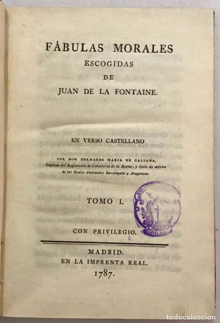 FÁULAS MORALES DE... EN VERSO CASTELLANO POR BERNARDO MARÍA DE CALZADA. - FONTAINE, JUAN DE LA. (Libros antiguos (hasta 1936), raros y curiosos - Literatura - Ensayo)