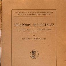 """Livres anciens: ESPINOSA, A.M.ARCAÍSMOS DIALECTALES.LA CONSERVACIÓN DE """"S"""" Y """"Z"""" SONORAS EN CÁCERES Y SALAMANCA.1935. Lote 212752800"""