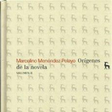 Libros antiguos: ORIGENES DE LA NOVELA. MARCELINO MENÉNDEZ PELAYO, 2 VOLS. , MADRID. ED. GREDOS. 2008. Lote 221173582