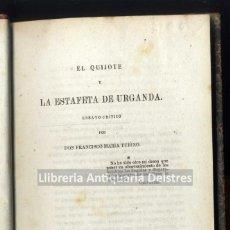 Libros antiguos: TUBINO, FRANCISCO MARIA. EL QUIJOTE Y LA ESTAFETA DE URGANDA. ENSAYO CRÍTICO.. Lote 221999775
