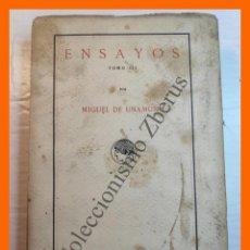 Libros antiguos: ENSAYOS. TOMO III - MIGUEL DE UNAMUNO. Lote 222548585