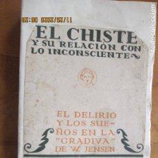 Libros antiguos: EL CHISTE Y SU RELACION CON LO INCONSCIENTE ,EL DELIRIO Y LOS SUEÑOS DE JENSEN -FREUD- 1931. Lote 228804535