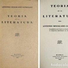 Libros antiguos: REGALADO, ANTONIO. TEORÍA DE LA LITERATURA.. Lote 236626195