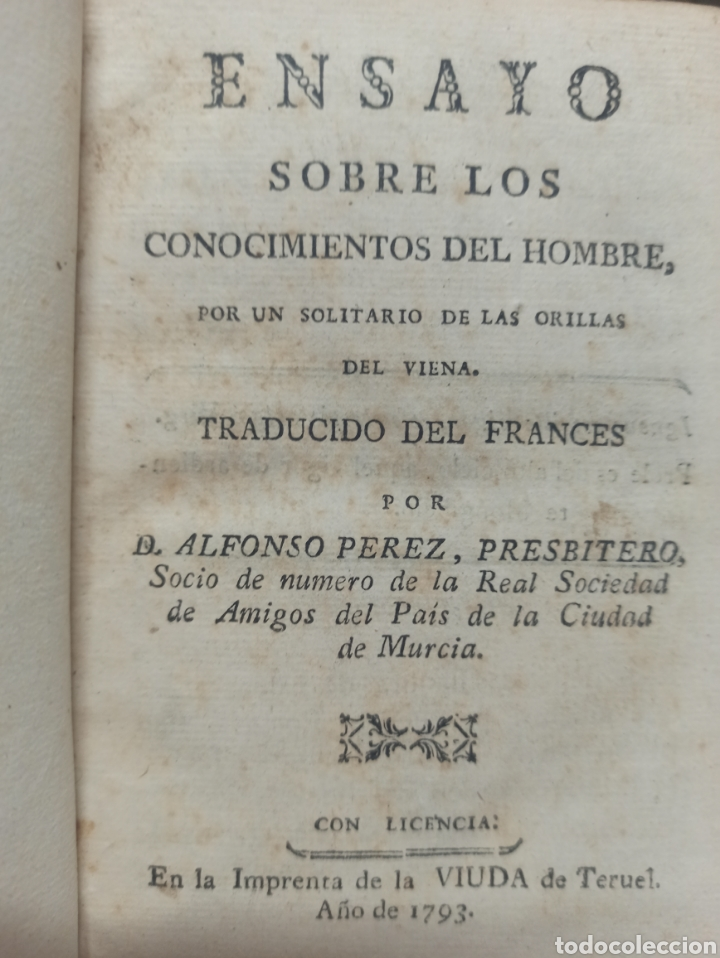 ENSAYO SOBRE LOS CONOCIMIENTOS DEL HOMBRE, MURCIA, IMPRENTA VIUDA DE TERUEL, 1793, PIEL DE EPOCA (Libros antiguos (hasta 1936), raros y curiosos - Literatura - Ensayo)