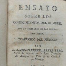 Libros antiguos: ENSAYO SOBRE LOS CONOCIMIENTOS DEL HOMBRE, MURCIA, IMPRENTA VIUDA DE TERUEL, 1793, PIEL DE EPOCA. Lote 242152845