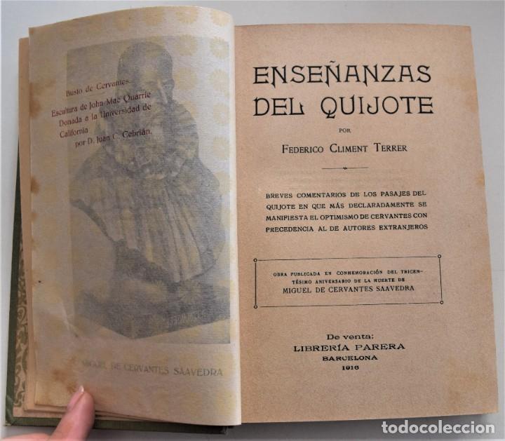Libros antiguos: ENSEÑANZAS DEL QUIJOTE - F. CLIMENT TERRER - BIBLIOTECA CULTURA Y CIVISMO - LIBRERÍA PARERA 1916 - Foto 4 - 261615015