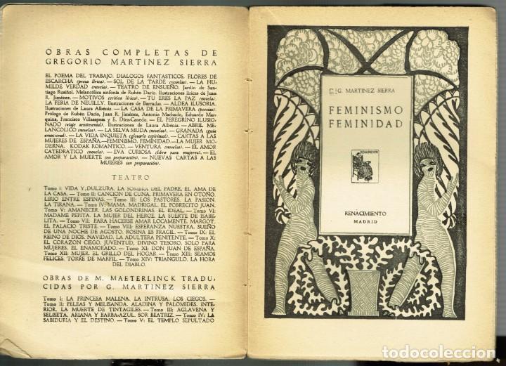 Libros antiguos: G.MARTINEZ SIERRA FEMINISMO FEMINIDAD RENACIMIENTO 1930 OBRAS COMPLETAS - Foto 3 - 264746994