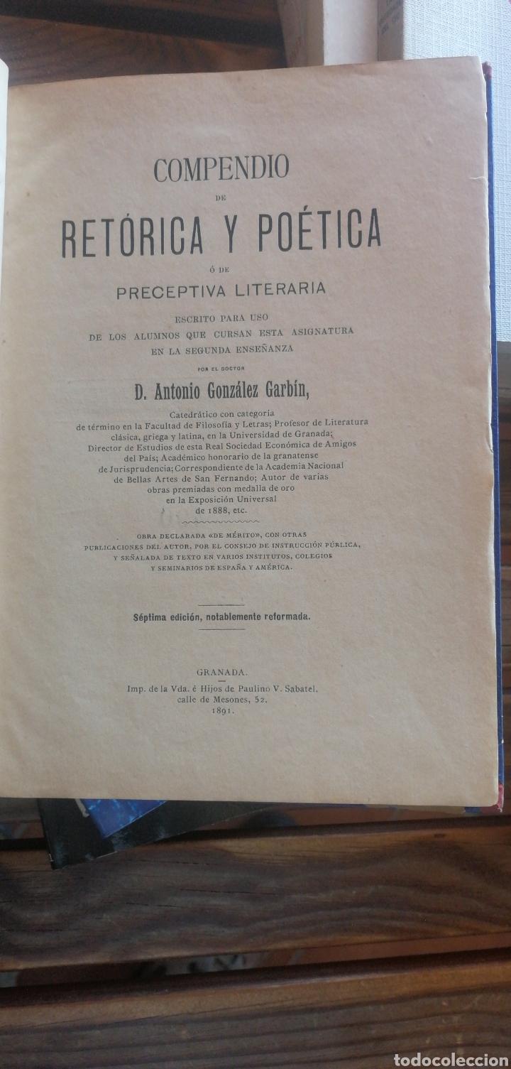COMPENDIO DE RETÓRICA Y POÉTICA Ó DE PRECEPTIVA LITERARIA. GONZÁLEZ GARBÍN, ANTONIO. 7ª EDICIÓN NOTA (Libros antiguos (hasta 1936), raros y curiosos - Literatura - Ensayo)
