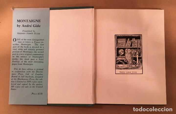 Libros antiguos: MONTAIGNE ANDRE GIDE BLACKMORE PRESS FIRMADO PREMIO NOBEL GAY HOMOSEXUAL PRIMERA EDICION - Foto 14 - 271040888