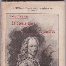 Libros antiguos: VOLTAIRE: LA POESÍA ÉPICA GUSTO DE LOS PUEBLOS. Lote 277126943