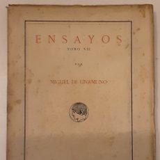Libros antiguos: MIGUEL DE UNAMUNO, ENSAYOS, TOMO VII. PUBLICACIONES DE LA RESIDENCIA DE ESTUDIANTES. MADRID, 1918. Lote 280119843
