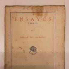 Libros antiguos: MIGUEL DE UNAMUNO, ENSAYOS, TOMO VI. PUBLICACIONES DE LA RESIDENCIA DE ESTUDIANTES. MADRID, 1918. Lote 280120293