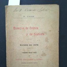 Libros antiguos: ENSAYOS DE CRITICA Y DE HISTORIA, ESPAÑA EN 1679, RAFAEL BALLESTER Y CASTELL, 1900. Lote 293993803