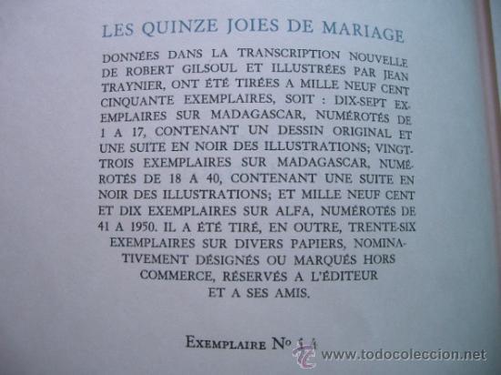 Libros antiguos: edición limitadad nº 14 Les Quinze Joyes de Mariage Éd. Paul Dupont;cun una suite de grabados - Foto 5 - 38151919