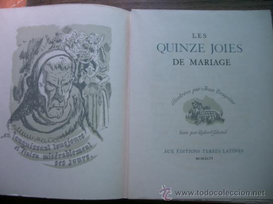 Libros antiguos: edición limitadad nº 14 Les Quinze Joyes de Mariage Éd. Paul Dupont;cun una suite de grabados - Foto 4 - 38151919