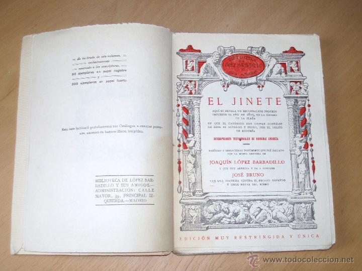 Libros antiguos: EL JINETE. Biblioteca López Barbadillo .Edición muy restringida y única. ver Rarísimo - Foto 2 - 205686463