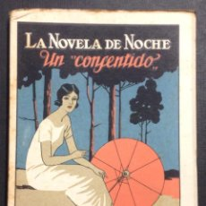 Libros antiguos: LA NOVELA DE NOCHE. UN CONSENTIDO. AÑO I, NÚM. 13. 1924. JUAN FERRAGUT. IZQUIERDO DURÁN ILUSTR.. Lote 46578385