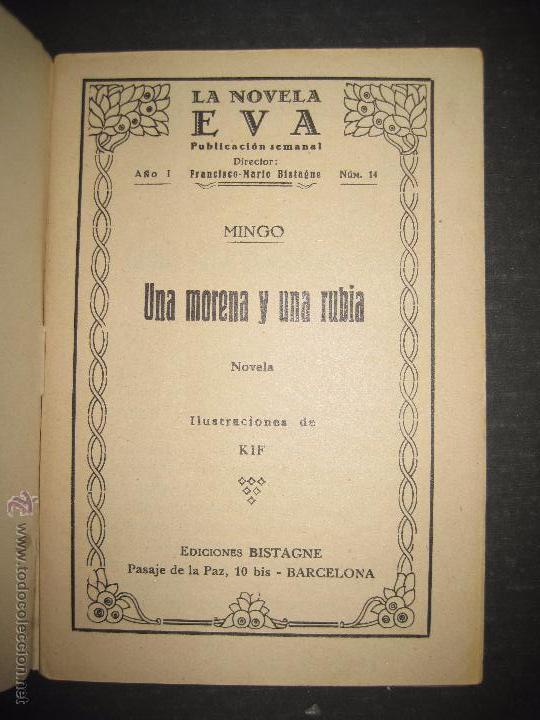 Libros antiguos: LA NOVELA EVA - UNA MORENA Y UNA RUBIA - NUMERO 14 - ILUSTRACIONES DE KIF - Foto 2 - 53371918