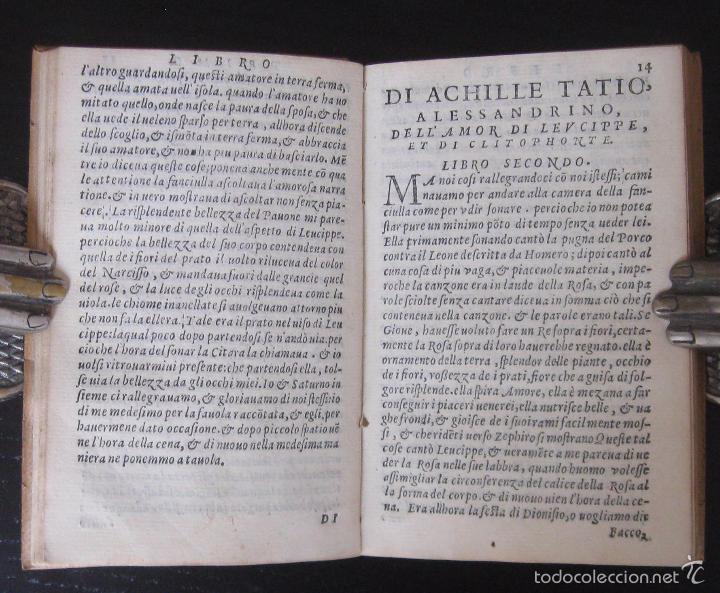 Libros antiguos: Raro - Venecia, 1578 - Aquiles Tacio: Leucipa y Clitofonte - Novela Erótica Bizantina - Pergamino - Foto 9 - 60379143