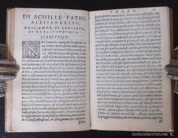 Libros antiguos: Raro - Venecia, 1578 - Aquiles Tacio: Leucipa y Clitofonte - Novela Erótica Bizantina - Pergamino - Foto 10 - 60379143