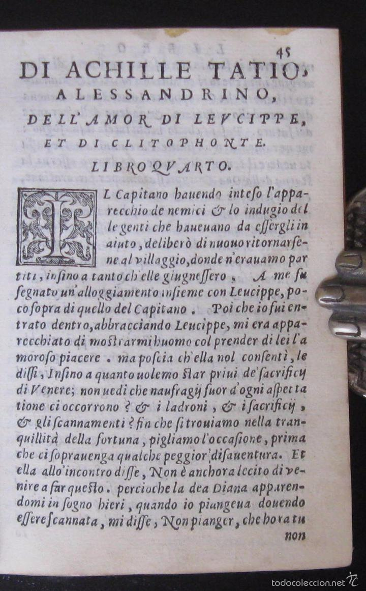 Libros antiguos: Raro - Venecia, 1578 - Aquiles Tacio: Leucipa y Clitofonte - Novela Erótica Bizantina - Pergamino - Foto 11 - 60379143