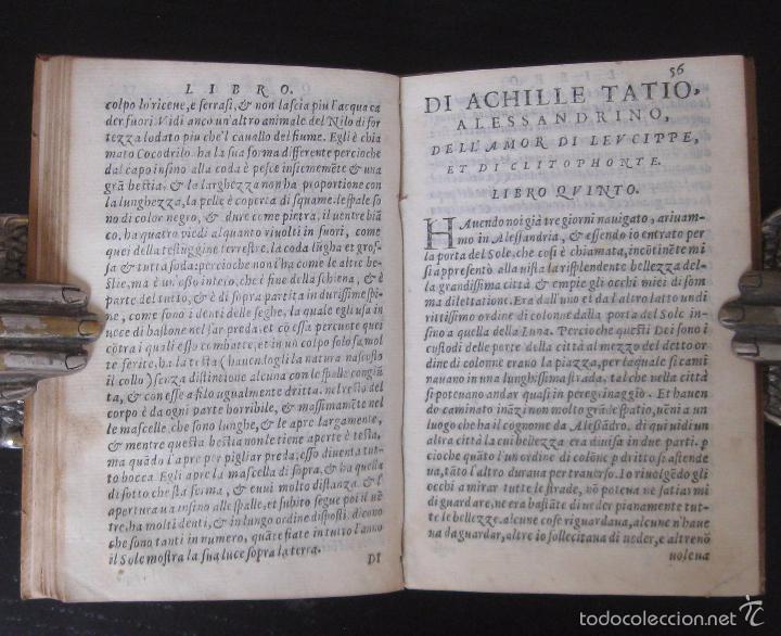 Libros antiguos: Raro - Venecia, 1578 - Aquiles Tacio: Leucipa y Clitofonte - Novela Erótica Bizantina - Pergamino - Foto 12 - 60379143