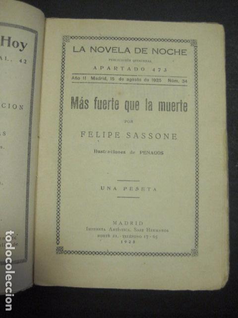 Libros antiguos: ILUSTRACIONES DE PENAGOS - LA NOVELA DE NOCHE- MAS FUERTE QUE LA MUERTE -VER FOTOS(V-10.712) - Foto 2 - 84724328