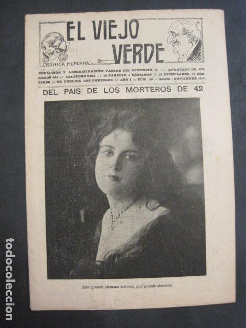 EL VIEJO VERDE - CRONICA MUNDANA - NUM. 20 - NOVIEMBRE 1914 - MADRID -VER FOTOS-(V- 11.638) (Libros antiguos (hasta 1936), raros y curiosos - Literatura - Narrativa - Erótica)