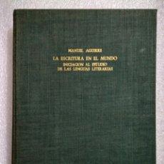Libros antiguos: LA ESCRITURA EN EL MUNDO. MANUEL AGUIRRE. MADRID 1961. PRIMERA EDICIÓN. FIRMADO POR EL AUTOR. Lote 107122964