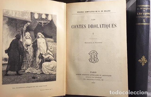 BALZAC : LES CONTES DROLATIQUES. (1902. CUENTOS DROLÁTICOS, ILUSTRADOS POR WAGREZ) (2 VOL. (Libros antiguos (hasta 1936), raros y curiosos - Literatura - Narrativa - Erótica)