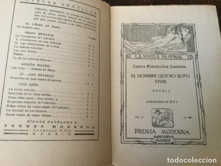 Libros antiguos: El hombre que no supo vivir, Carlos Fdez. Cuenca. La novela pasional - Foto 2 - 126666731