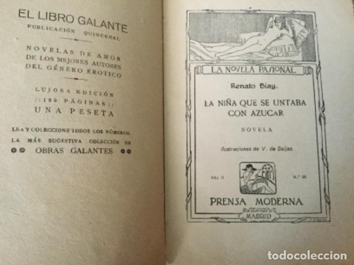 Libros antiguos: La niña que se untaba con azúcar, Renato Blay. 1926. La novela pasional - Foto 2 - 126672991