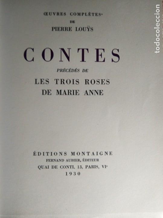 Libros antiguos: EROTICA PIERRE LOUYS CONTES EDITIONS MONTAIGNE PARIS 1930 ED NUMERADA GRABADOS VER FOTOS - Foto 4 - 203030727