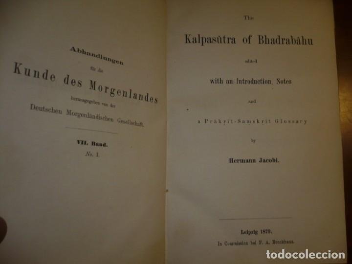Libros antiguos: THE KALPASUTRA OF BHADRABAHU HERMANN JACOBI 1879 LEIPZIG - Foto 2 - 204103813