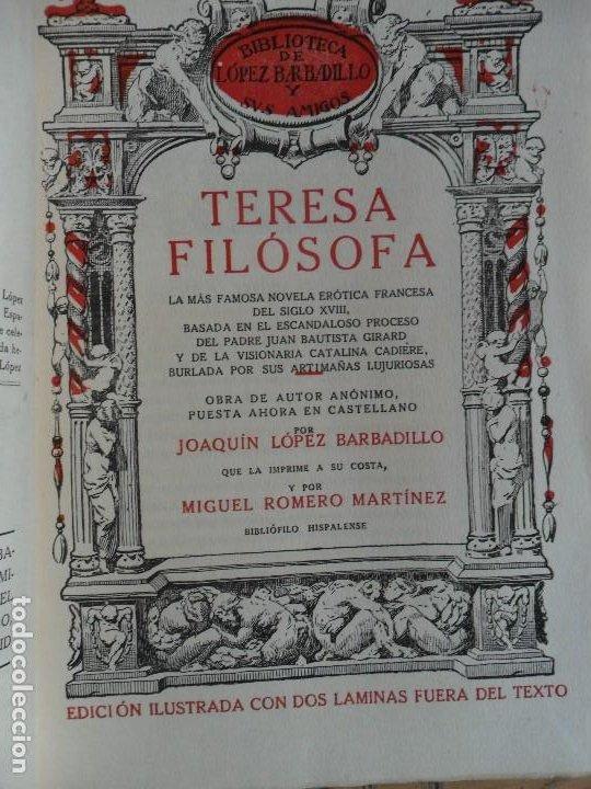 TERESA FILOSOFA. BIBLIOTECA DE J. LÓPEZ BARBADILLO. MADRID 1920 (Libros antiguos (hasta 1936), raros y curiosos - Literatura - Narrativa - Erótica)