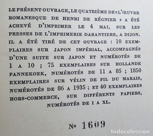 Libros antiguos: LIBRO EROTICO LA DOUBLE MAITRESSE HENRI DE REGNIER, TRIANON 1930 EDICION NUMERADA 1609 DE 1850 - Foto 8 - 214926286
