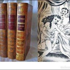 Libros antiguos: LAS FÁBULAS DE LA FONTAINE. CON ILUSTRACIONES ERÓTICAS. 3 ELEGANTES TOMOS NUMERADOS. TIRADA LIMITADA. Lote 224188135