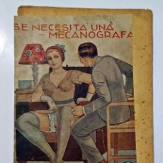 Libros antiguos: AÑOS 30. NOVELITA ERÓTICA ESPAÑOLA CON ILUSTRACIONES: SE NECESITA UNA MECANÓGRAFA.. Lote 234438925