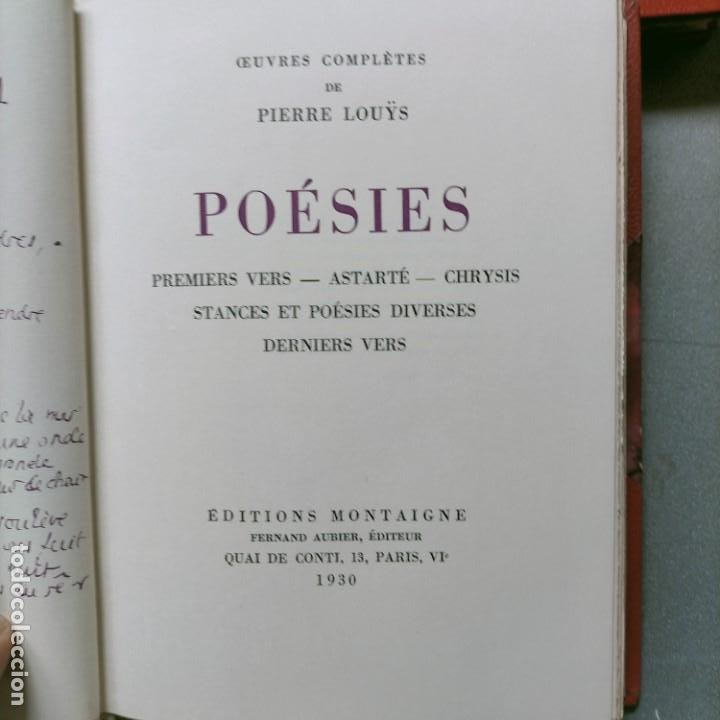 Libros antiguos: PIERRE LOUYS POESIES CONTES POETIQUE PSYCHE ARCHIPEL LITERATURE EDITIONS MONTAIGNE EROTICA - Foto 13 - 264807419