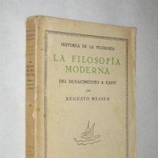 Libros antiguos: LA FILOSOFÍA MODERNA, DEL RENACIMIENTO A KANT, POR AUGUSTO MESSER. REVISTA DE OCCIDENTE. 1927. Lote 24815017