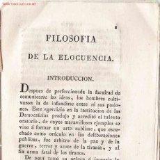 Libros antiguos: FILOSOFÍA DE LA ELOCUENCIA / POR ANTONIO DE CAPMANY Y DE MONTPALAU - [1826]. Lote 23692260
