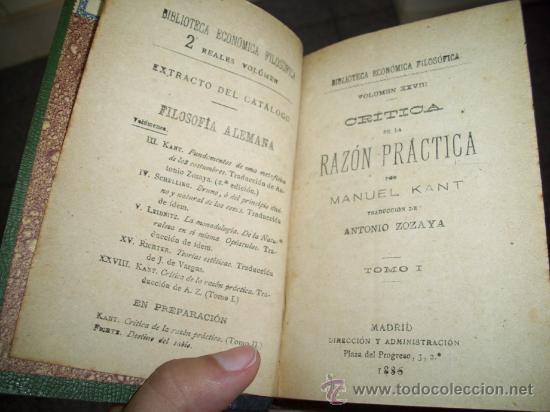 Libros antiguos: Crítica de la razón práctica por Manuel Kant de Biblioteca Económica Filosófica en Madrid 1886 - Foto 2 - 26233636