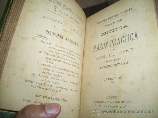 Libros antiguos: Crítica de la razón práctica por Manuel Kant de Biblioteca Económica Filosófica en Madrid 1886 - Foto 3 - 26233636
