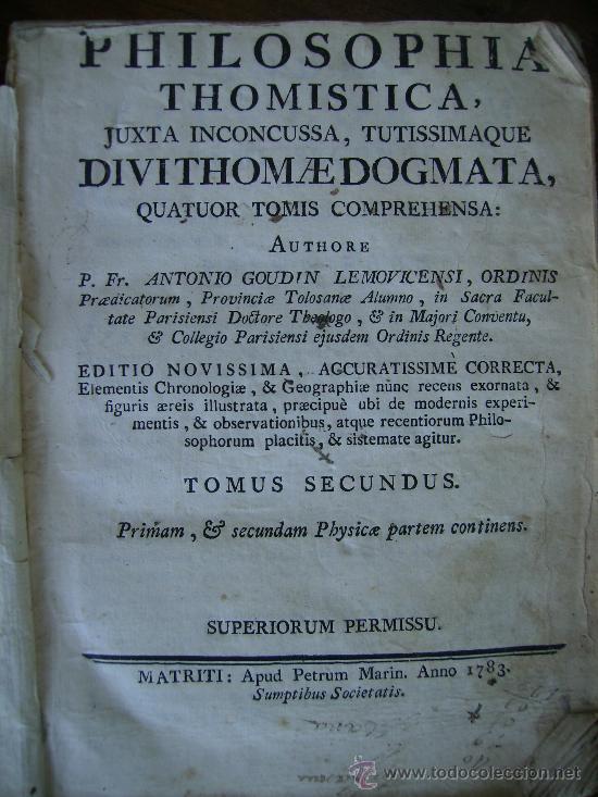 PHILOSOPHIA THOMISTICA 1783 LIBRO DE PERGAMINO TOMO II 403 PGS (Libros Antiguos, Raros y Curiosos - Pensamiento - Filosofía)