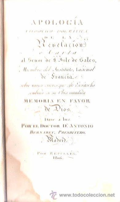 LIBRO DE 1806,MEMORIA EN FAVOR DE DIOS,APOLOGÍA FILOSÓFICO DOGMÁTICA,REPULLÉS,RARO (Libros Antiguos, Raros y Curiosos - Pensamiento - Filosofía)